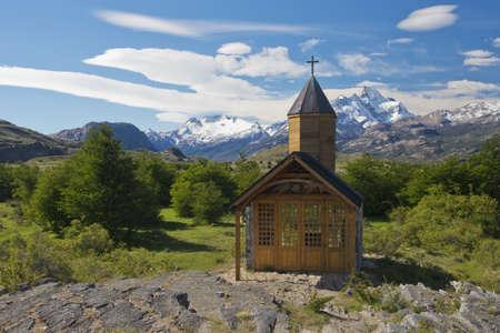 el calafate: Church of the estancia cristina on the Lake Argentino, near the upsala glacier, in los glaciares national park of patagonia argentina  Stock Photo