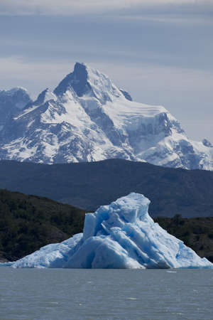 Spectacular blue iceberg floating on the Lake Argentino in the Los Glaciares National Park, Patagonia, Argentina.