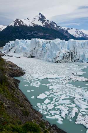 View of one of the fronts of the glacier Perito Moreno in the Los Glaciares National Park of  Patagonia, facing on the Lake Argentino Stock Photo - 17710564