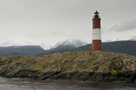 islet: Lighthouse Les Eclaireurs on an islet in the Beagle Channel, near Ushuaia in the Tierra del Fuego Stock Photo