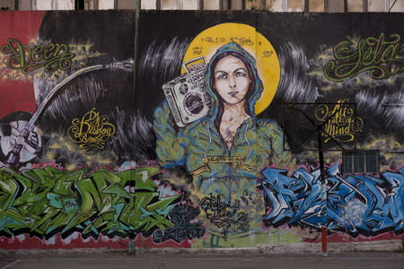 mural painting representing the Madonna with a stereo in the barrio San Telmo, in the centre of Buenos Aires