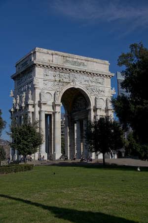 fascist: The triumphal arch built during the fascist period, in Piazza della Vittoria, in the center of Genoa