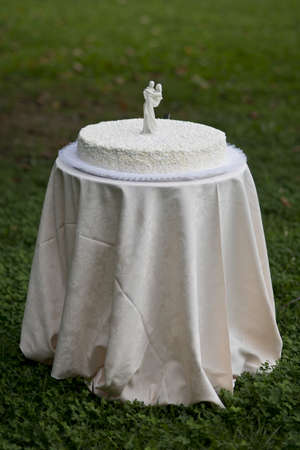 White wedding cake with white figures of bride and husband