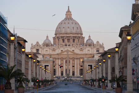 the facade of Saint Peters Basilica, a masterpiece of italian renaissance architecture, situated in the center of Rome,. Seat of the Pope and principal landmark of the Vatican