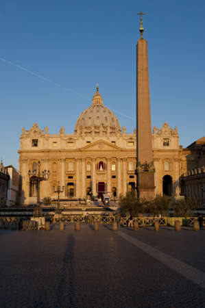 the facade of Saint Peter's Basilica, a masterpiece of italian renaissance architecture, situated in the center of Rome,. Seat of the Pope and principal landmark of the Vatican Stock Photo - 17819867