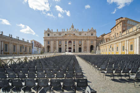 the facade of Saint Peter's Basilica, a masterpiece of italian renaissance architecture, situated in the center of Rome,. Seat of the Pope and principal landmark of the Vatican Stock Photo - 18280194