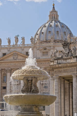 The dome of Saint Peter's Basilica, a masterpiece of italian renaissance architecture, situated in the center of Rome,. Seat of the Pope and principal landmark of the Vatican Stock Photo - 18306371
