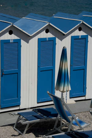 cabana: Cabanas and beach umbrella in the ligurian Riviera in Italy