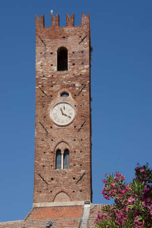 Medieval tower in the centre of the village of Noli in the ligurian riviera