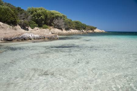 The wonderful colors of the sea in cala granu, a bay near Porto Cervo in Costa Smeralda