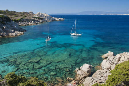 The wonderful colors of the sea in cala spinosa, a bay of Capo Testa, in Gallura