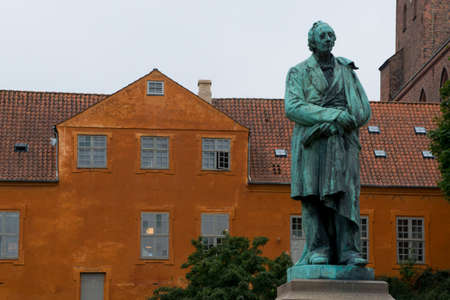 cristian: Statue of the famous novelist Hans Cristian Andersen in his born city  Odense in Funen, Denmark
