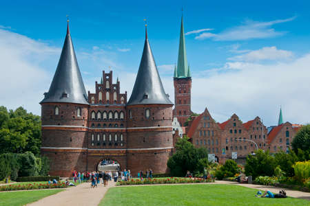 Ancient gate in the center of the hanseatic city of Lubeck, in Germany Standard-Bild