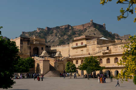 amber fort: The Amber Fort, magnificent fortified palace  near Jaipur, Rajasthan, India  This maharajah residence situated upon Maota