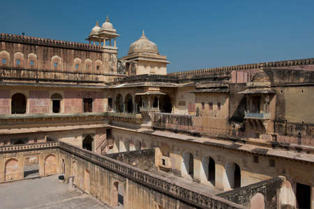 fortified: The Amber Fort, magnificent fortified palace  near Jaipur, Rajasthan, India   Stock Photo