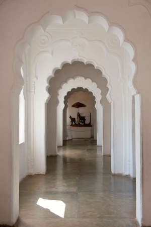 fortified: Arches at the Mehrangarh Fort, magnificent fortified palace  in Jodhpur,  Rajasthan, India. This maharajah residence became in 2013 Unesco world heritage site. Stock Photo
