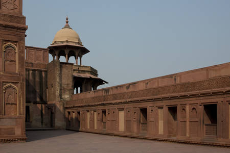 The red Agra Fort, home of the  Moghul Emperors
