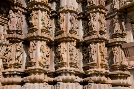 The famous temples of Khajuraho are a large group of medieval hindu and jain temples, famous for ther erotic sculptures  Situated in Madhya Pradesh, since 1986 they are inscripted as Unesco world heritage site  photo
