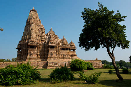 The famous temples of Khajuraho are a large group of medieval hindu and jain temples photo