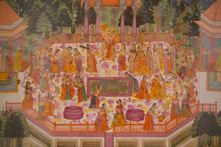 maharaja: Painting representing the maharaja and his concubines dancing Stock Photo
