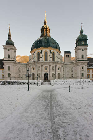 ettal: The facade of the Ettal Abbey in winter  A benedictine monastery in Bavaria, near Oberammergau, Germany Stock Photo