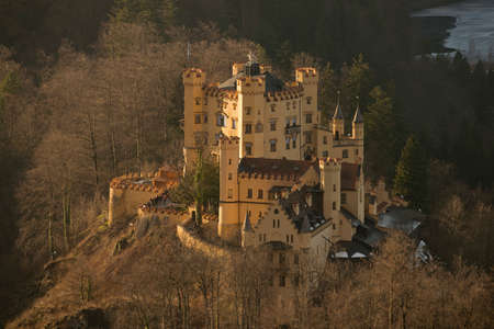 allgau: The castle of Hohenschwangau in Bavaria, near Fussen  Now visited from tourists from all over the world  Editorial