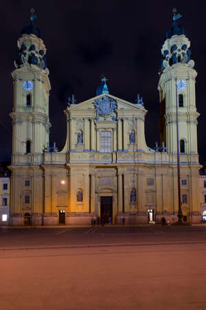 residenz: The theatine church of Saint Cajetan in Baroque Style is situated in front of the Residenz of Munich Stock Photo