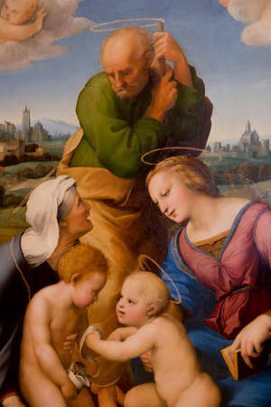 alte: MUNICH - GERMANY - 30 DECEMBER 2013 - Painting of Raphael drawing the Holy Family Canigiani, at the Alte Pinakothek in Munich