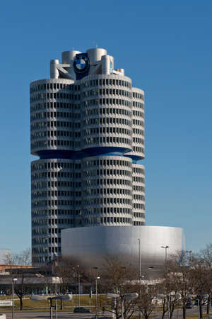MUNICH - GERMANY - 30 DECEMBER 2013 - the Bmw Headquarter located near the Olympiapark in Munich, was established in 1972 before the Summer Olympic Games Editorial
