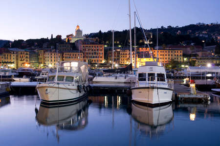 View of the harbour of Santa Margherita Ligure and the village on the Ligurian Riviera, Italy