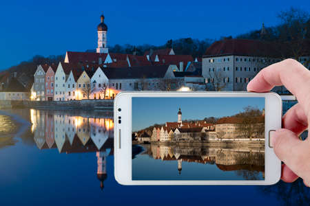 Day picture during nighttime in  the medieval town of Landsberg am Lech in Bavaria, situated on the Romantische Strasse