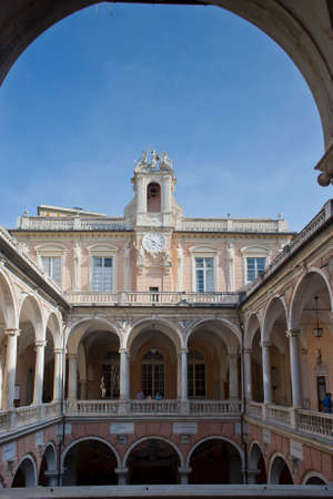 genoa: The central court of Palazzo Tursi, ancient noble palace  Today is the Town-hall of Genoa, Italy