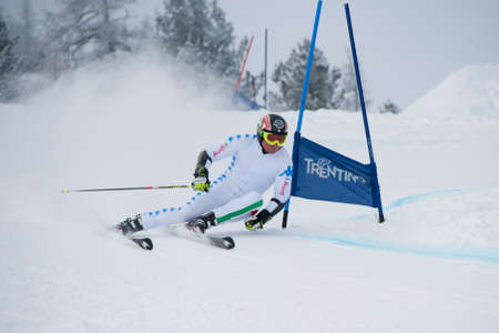 CAREZZA, ITALY - 22 FEBRUARY 2013 - Unidentified italian ski national team member training in giant slalom test on the slopes of Carezza Publikacyjne