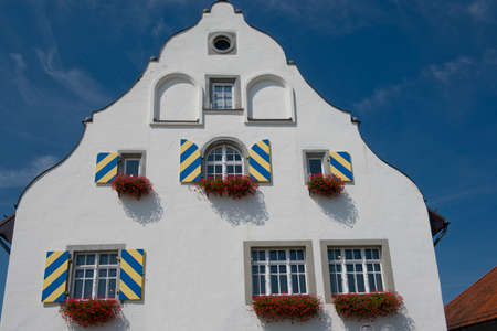 house gable: The gable of an historical house in Wasserburg, on the bavarian shore of the Constance Lake, Germany Stock Photo