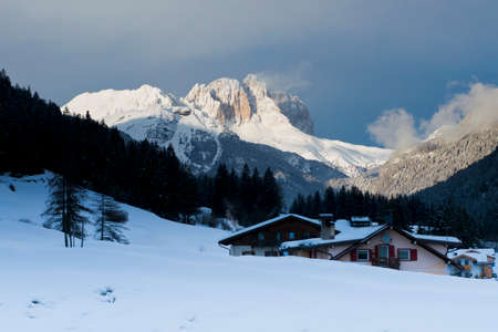 The idyllic panorama of Val di Fassa in the Dolomiti  photo