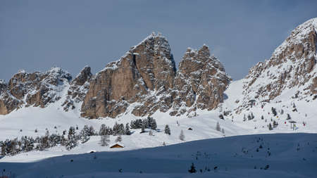 cir: The idyllic panorama of the snowy  peaks in the Dolomiti