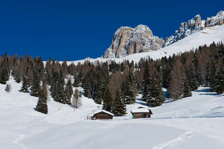 fassa: Chalet and trees under the snow in the idyllic landscape of the dolomiti in Trentino South Tyrol Stock Photo