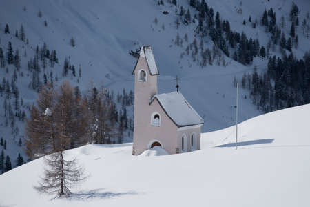 Ancient church in Passo Gardena, pass between Val Gardena and Val Badia, South Tyrol, Italy