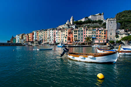 The townscape of Portovenere with its colorful houses  This typical ligurian village is situated in the Gulf of La Spezia, near the Cinque Terre  Editorial
