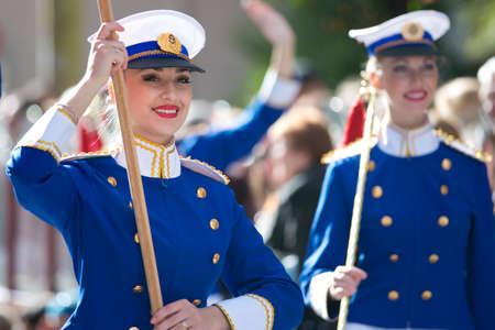 MENTON, FRANCE - 2 MARCH 2014 - Unidentified majorette during the parade of the Lemon Festiva
