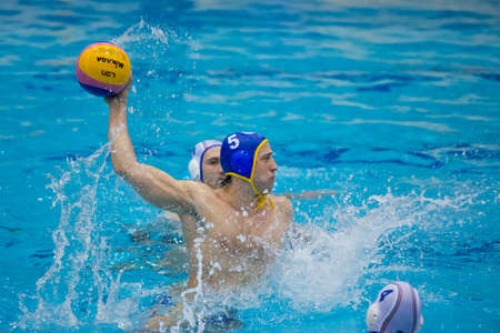 SORI - ITALY - 26 MARCH 2014 - Unidentified player of the Pro Recco water polo team in action during the match versus Barceloneta valid for Champions League