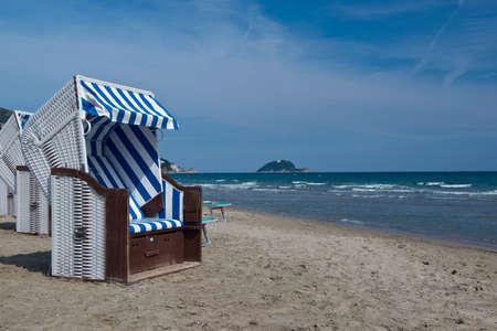 The coastline of Alassio with the village on the sandy beach, in Liguria Reklamní fotografie