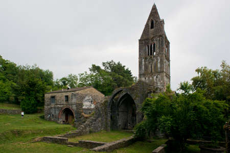 abbey ruins abbey: Ancient abbey in ruins, situated in Valle Christi, near Rapallo, Liguria