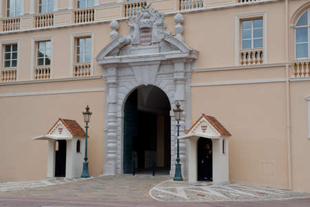 sentry: The Castle, official residence of the Prince of Monaco, situated on a hill in Montecarlo