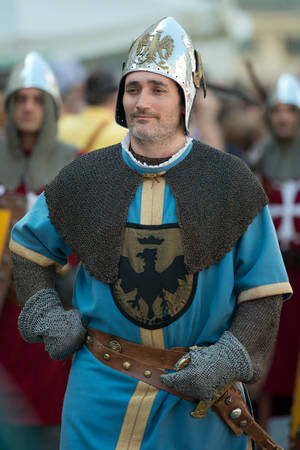 republics: GENOA, ITALY - 8 JUNE  2014 - Unidentified man masked during the historical parade of the Maritime Republics Palio Editorial
