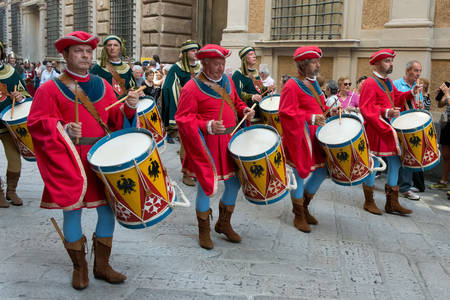 republics: GENOA, ITALY - 8 JUNE  2014 - Unidentified men masked during the historical parade of the Maritime Republics Palio Editorial
