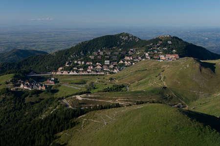 Panorama of the village of Prato Nevoso in the Ligurian Alps in Piedmont.