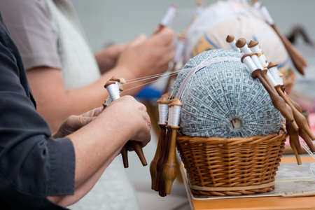 Lace handmade, typical activity in Idrija, Slovenia Stock Photo