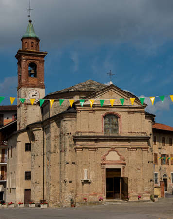 Old church in the center of San Giacomo di Roburent, in Piedmont.