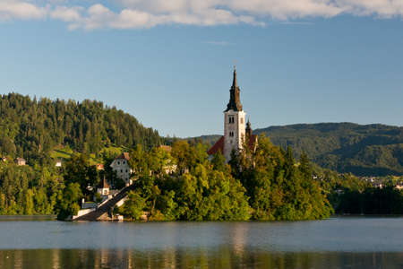 The island with the Assumption of Mary Church situated on the Lake Bled  in the Julian Alps. One of the icon of Slovenia.